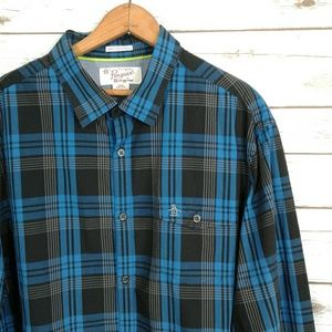 Original Penguin Blue & Black Plaid Casual Shirt